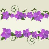 рамка фиолетовые цветы — Cтоковый вектор