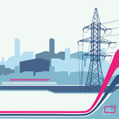 High-voltage tower silhouette on the urban background. — Stock Vector