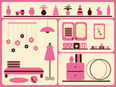 Children`s room interior and objects set. — Stock Vector