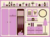 Wardrobe room interior and objects set. — Vector de stock