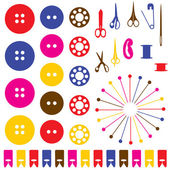 Sewing objects silhouettes set. — Stock Vector