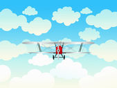 Aeroplane in the blue sky. — Stock Vector