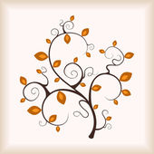 Elegance dreamy autumn tree with frame background . — Stock Vector