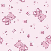 Teddy bears seamless pink background. — Stock Vector