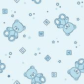 Teddy bears seamless blue background. — Stock Vector