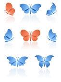 Butterflies set. — Stock Vector