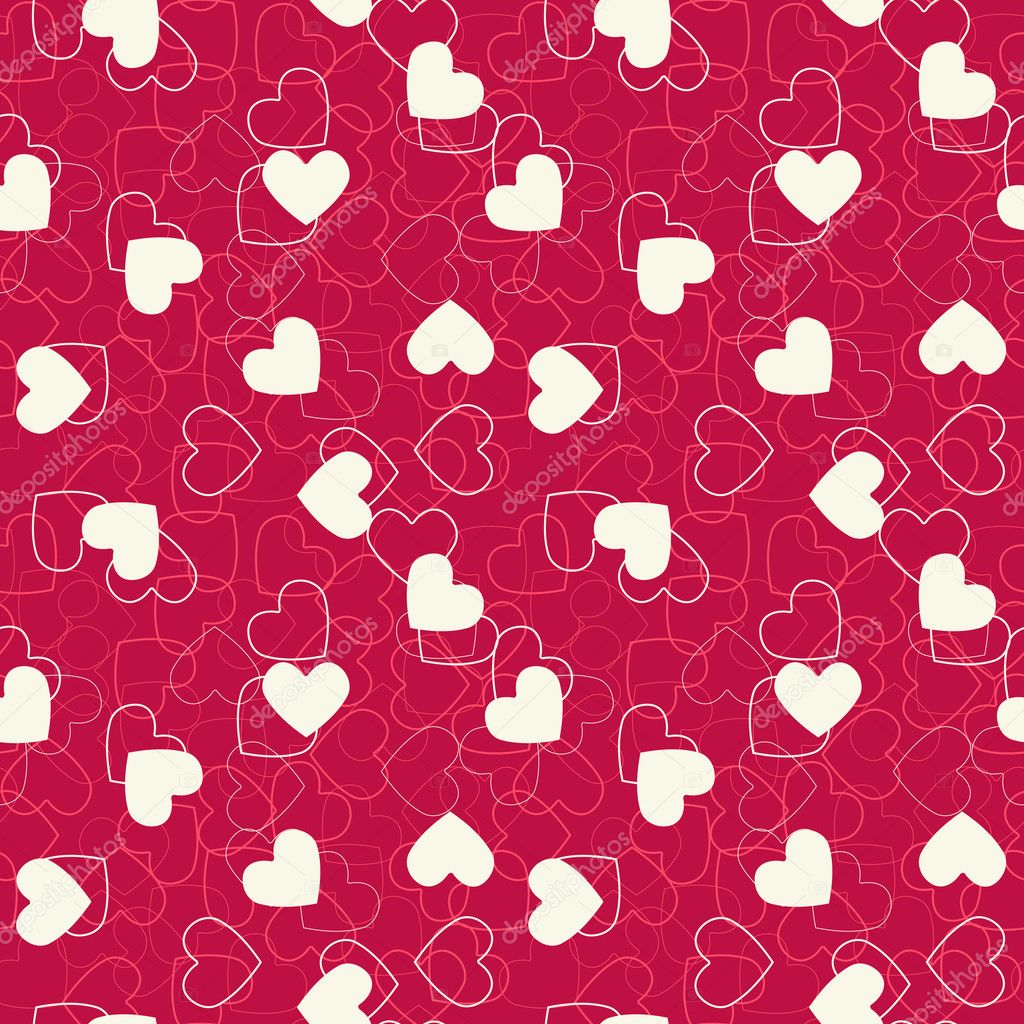Seamless hearts background. Vector illustration. Consists of four separate seamless parts.  — Stock Vector #9824055