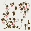 Grape vines, wineglasses and decorative elements set. — Stockvector  #9865088