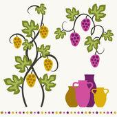 Grape vines, wineglasses and decorative elements set. — Stock Vector
