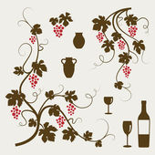 Grape vines, wineglasses and decorative elements set. — Stockvektor