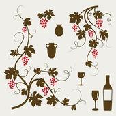 Vinrankor, vinglas och dekorativa element. — Stockvektor