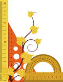 Ruler, protractor and triangle with autumn branch. — Stock Vector