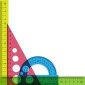 Règle, rapporteur et triangle avec transparence simulée. — Vecteur