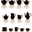 Crockery objects silhouettes set with reflection. — Stock Vector