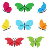 Colorful butterflies logos set. — Stock Vector