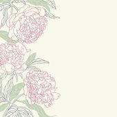 Tenderness peony flowers frame. — Stock Vector