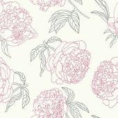 Zärtlichkeit Pfingstrose Blumen schöne nahtlose Hintergrund. — Stockvektor