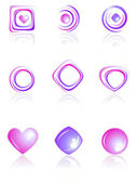 Pink and violet colors logos set. — Stock Vector