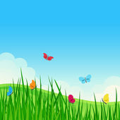 Beautiful summer meadow with colorful butterflies. — Stock Vector