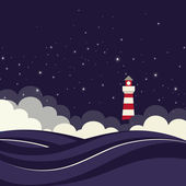 Lighthouse in night sea. — Stock Vector