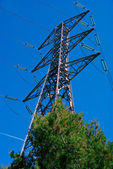 A steel pylon and its cables — Stock Photo