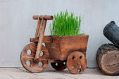 Small wooden cart — 图库照片