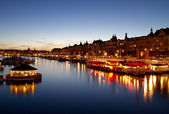 Stockholm waterfront at night. — Stock Photo