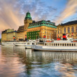 Old ships and beautiful sunset in Stockholm. — Stockfoto