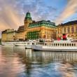 Старые корабли и красивый закат в Стокгольме — Стоковое фото