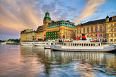 Old ships and beautiful sunset in Stockholm. — Stock Photo