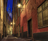At night in the alley in old town. — Stock Photo