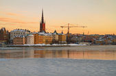 Riddarholmen in Stockholm at sunset. — Stock Photo