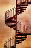 Red spiral staircase. — Photo