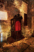 Old wooden confessional. — Stock Photo