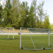 Soccer goalposts — Stock Photo