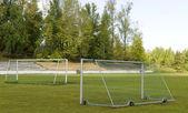 Soccer goalposts — Stock Photo