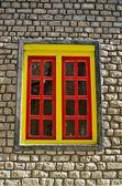 Yellow window Nepali style — Stock Photo