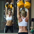 Kettlebells in gym — Stock Photo #10053357