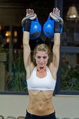 Kettlebells work-out — Stock Photo