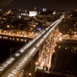 High view of D. Luis bridge at night - Foto Stock