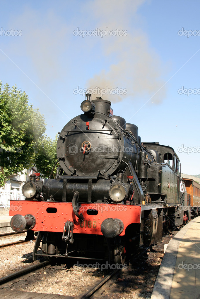 Steam Train in Pinho, Portugal  Stock Photo #9789006