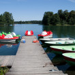 Pedals and boats for sailing in lake Galve — Stock Photo #9875933