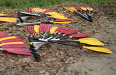 Yellow and red paddles — Foto Stock
