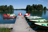 Pedals and boats for sailing in the lake Galve — Foto Stock