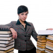 Girl with stack of books and planchette — Stock Photo #10706134