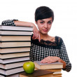 Girl with stack of books and apple — Stock Photo #10706149