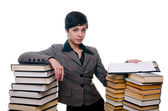 Girl with stack of books and planchette — Stock Photo