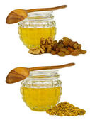 Honey with walnut, raisins and pollen — Stock Photo