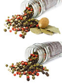 Spices: mixed peppercorns, bay leaves, nutmeg isolated — Stock Photo