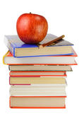 School Books and Apple — Stock Photo